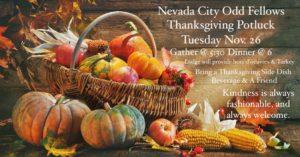 Thanksgiving Odd Night Out @ Nevada City Oddfellows